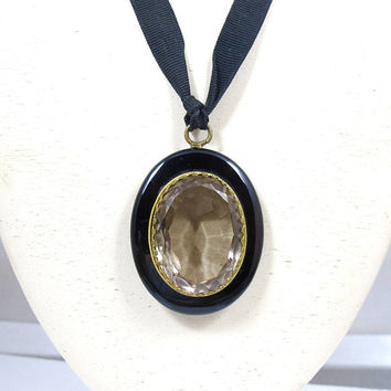 Antique Victorian Mourning Locket. Black Onyx Rock Crystal Locket Pendant Necklace. Antique Black Mourning Jewelry