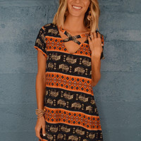 Elephant Printed Cutout Dress Rust
