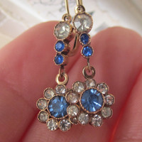 Antique Victorian 14k Gold Blue Sapphire & Diamond Paste Stone Drop Dangle Dormeuse Earrings 14ct 14kt Solid Gold Bridal Wedding earrings
