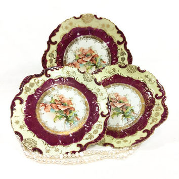 Three Dessert Plates, Red Cream White, Salmon Pink Flowers Roses, Rudolph Wachter Bavarian China, 1900s Victorian Antique Porcelain Plates