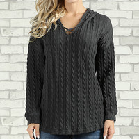 Charcoal Crisscross-Accent Hoodie - Plus Too