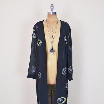 Vintage 90s Black Abstract Print Sheer Jacket Long Duster Jacket Kimono Jacket Slouchy Oversize Drape Grunge Jacket Gypsy Jacket S M L XL