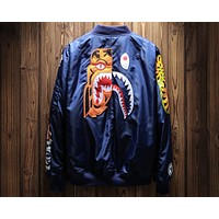 Bape 2018 autumn and winter new tiger shark printing embroidery jacket cotton clothing F-A-KSFZ Blue