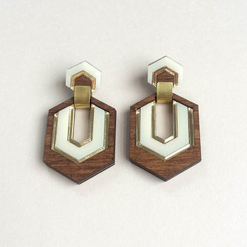 Hex Earrings in Wood with Cream and Gold by Wolf & Moon