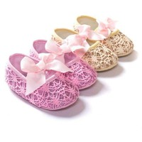 Infant Baby Girls Crib Shoes Anti slip Sneakers Bowknot Soft Bottom Shoes 0-18M