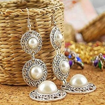 ac spbest Women's Fashion Jewelry Boho Vintage Pearl on Alloy Circle Chandelier Earrings