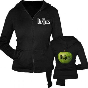 The Beatles Green Apple Zip Up Black Juniors Sweatshirt Hoodie - The Beatles - | TV Store Online
