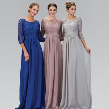 2017 New Long Bridesmaid dresses Three quarter A line Chiffon Elegant Cheap Lace Women Party dress for Wedding 3/4 Sleeve