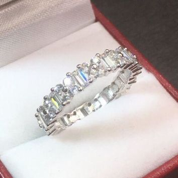 14k White Gold Layer On Sterling Silver 3 ct CZ  Eternity ring Band Size 6