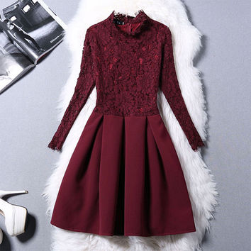 Fashion lace stitching dresses