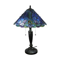 "Amora Lighting Home Decorative AM1102TL16 Tiffany Style Blue Table Lamp 24"" Tall"