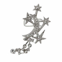 Star and Moon Earcuff - Clear