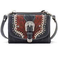 Women's Texas Two Step Handbag/Wallet Combo - Navy Blue/Distressed Crimson