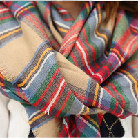 Women accessories Tartan arylic Plaid Flannel large oversized square plaid scarf acacia scarf