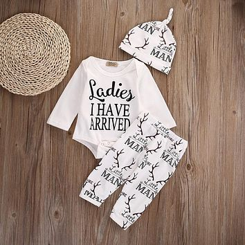 Newborn Infant Baby Girls Boys Clothes Deer Cotton Long Sleeve Romper Pants Hat Outfit Toddler Kids Clothing Set