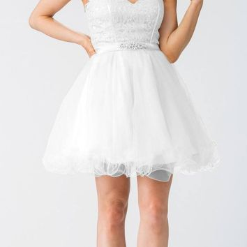 Starbox USA S6177 Lace Up Back Strapless Homecoming Dress White