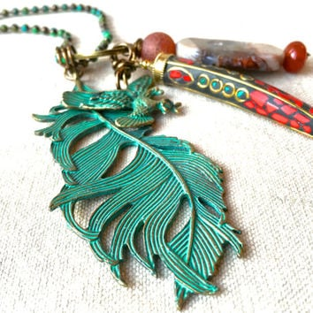 Verdigris Patina Feather Necklace Tibetan horn pendant mix and match pendants patriotic jewelry vintage 4th of July jewelry