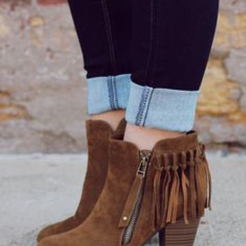 Fringe Booties - Tan