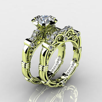 Art Masters Caravaggio 18K Green Gold 1.0 Ct White Sapphire Diamond Engagement Ring Wedding Band Set R623S-18KGGDWS
