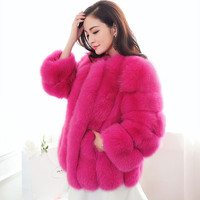New Design 2016 Fashion Winter Women Faux  Fur Coat Woman Jacket Fox Fur Female Ladies Fur Coats Size S-XXXL