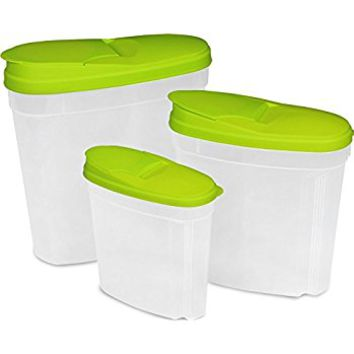 Food Container (Green, 3-Pack) - BPA Free, Reusable, Environment Friendly, Multipurpose Use for Home Kitchen or Restaurant - by Utopia Kitchen
