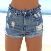 Braid Waist Denim Shorts