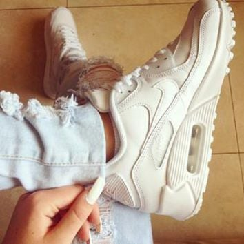 NIKE air max 90 White leather sport shoes