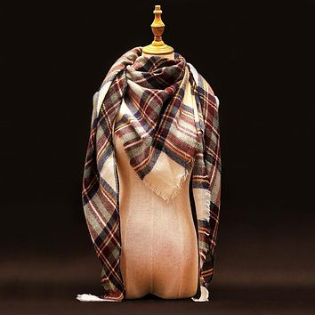 Za Winter Scarf 2016 Luxury Brand Tartan Cashmere Scarf Women Wool Plaid Blanket Scarf Pashmina Wrap Shawls and Scarves Hijab