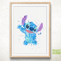 Stitch, Disney - Watercolor, Art Print, Home Wall decor, Watercolor Print, Disenyland Poster