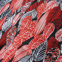 Leaf pattern mod scarf / Vintage Black Red White Acetate Scarf / Made in Japan