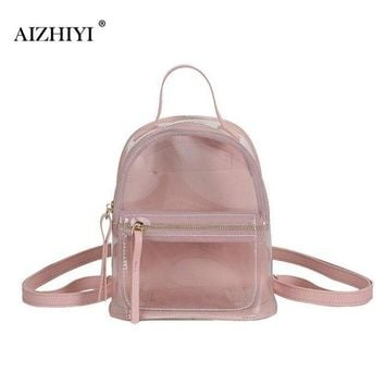 Clear Backpacks popular Preppy Womens Girl Boy Fashion Backpack Mini Transparent Clear Plastic Student Bag School Book Leisure Shoulder Bags Purse 2018 AT_62_4