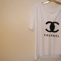 Oversized Fauxnel White T-Shirt