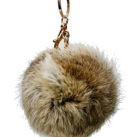 Faux Rabbit Fur Keychain Charm Brown