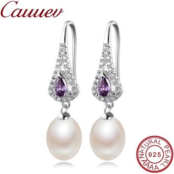 Elegant Women AAA Shiny Crystal Real Natural Freshwater Pearl Drop Earrings Fashion Luxury Zircon 925 Sterling Silver Jewelry