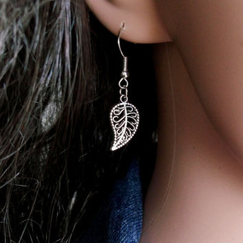 EARRINGS LEAF TREE Antique Silver Earrings Charms 90s Grunge Leaf Tree Earrings Leaf Tree Grunge Antique Silver Earrings with Charm