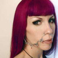 Gothic Floral Red Crystal Nose Chain