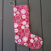 Deer and snowflake red Single Christmas stocking- stocking- Stocking stuffer ideas-christmas decorations-Black Friday sale-Christmas decor