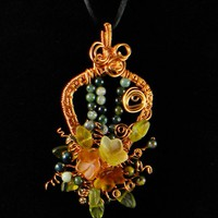 Copper Wire Wrapped Glass Floral and Genstone Arrow Shaped Pendant