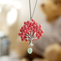 N0019 // Bubble Tree Necklace - Pink // Birthday Gift, Guraduation Gift, Everyday Jewelry