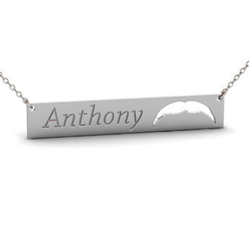 Sterling Silver Mustache Name Bar Necklace #2