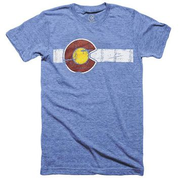 CLASSIC COLORADO LIGHT BLUE TRIBLEND FLAG T-SHIRT