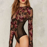 Nasty Gal Collection Bologna Embroidered Bodysuit