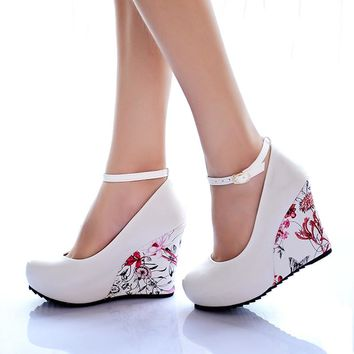 KarinLuna large Sizes 34-43 Wedges High Heels Party wedding Pumps shoe Flower Print Platform Ankle-Strap Women Shoes Woman pumps