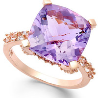 Victoria Townsend Amethyst (6-3/4 ct. t.w.) and White Topaz (5/8 ct. t.w.) Cocktail Ring in 18k Rose Gold over Sterling Silver