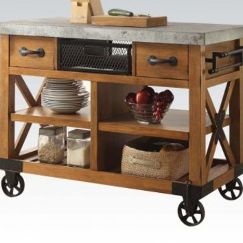 Acme 98182 Kailey distressed oak finish wood and black metal accents kitchen island cart