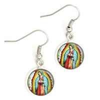 Virgin Mary Our Lady of Guadalupe Earrings Silver Tone EK18 Marian Prayer Fashion Jewelry