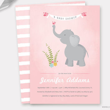 Elephant Baby Shower Invitation Printable, Girl Baby Shower Invitations, Elephant with Birds, Diaper Raffle Ticket Printable, Custom Colors