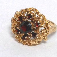 14K Yellow Gold Garnet Cluster Ring, Size 6.25, Signed and Numbered, Vintage 1970s, January Birthstone