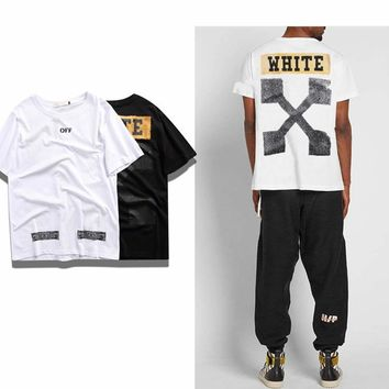 OFF BLAKC summer new street brand OFF WHITE orange arrow printing round neck loose men and women WHITE short-sleeved T-shirt
