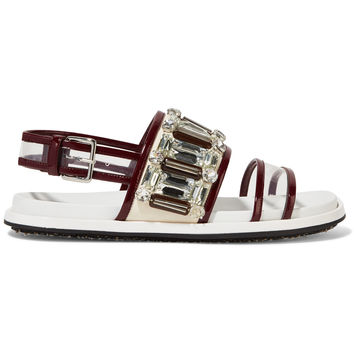 Embellished PVC-trimmed leather sandals | Marni | US | THE OUTNET